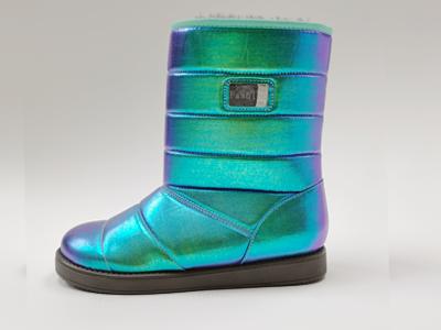 东莞懿熙女鞋生产厂家-彩色亚光太空棉布平跟雪地靴