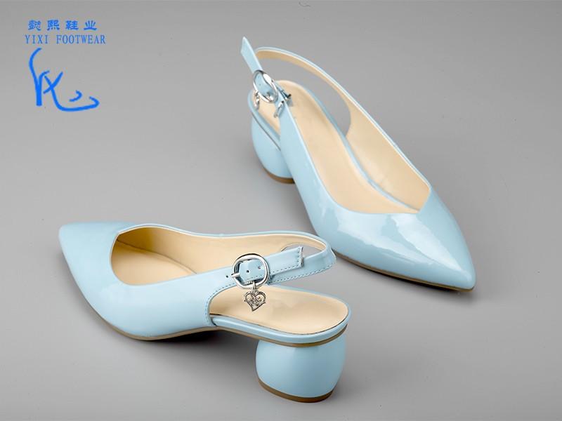 女士经典粗跟凉鞋蓝色