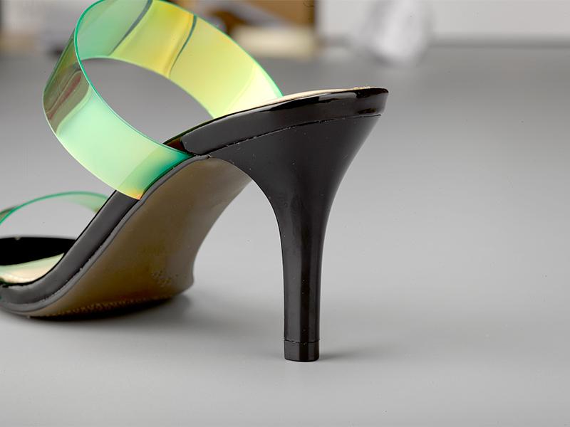 女士亮色高跟拖鞋鞋跟