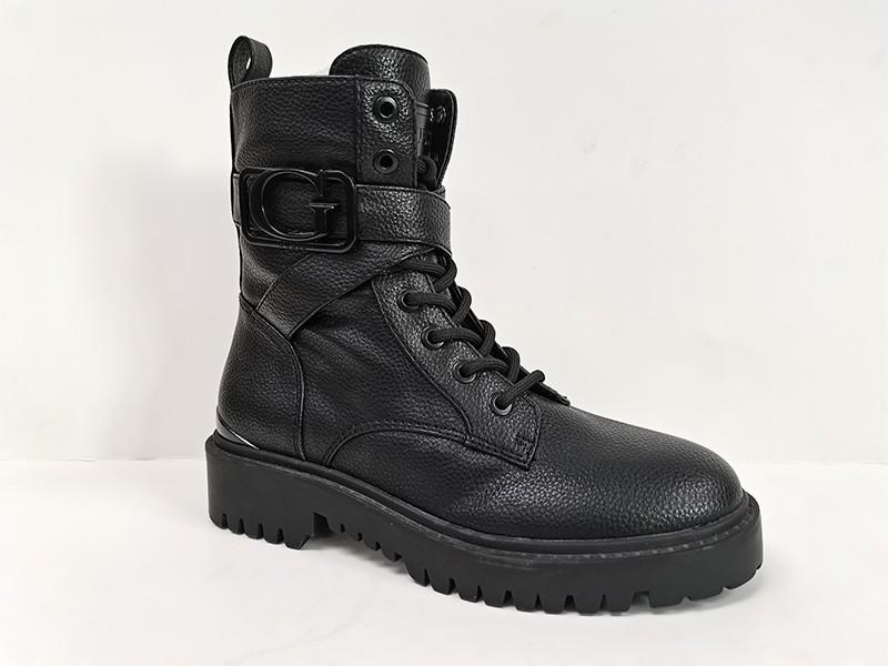 东莞懿熙女鞋生产厂家-拼接皮革中筒马丁靴-代工厂家