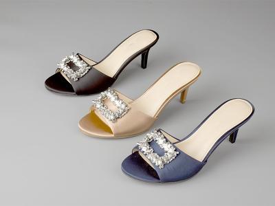 东莞懿熙鞋业女鞋生产厂家-水钻女士高跟拖鞋-代工工厂