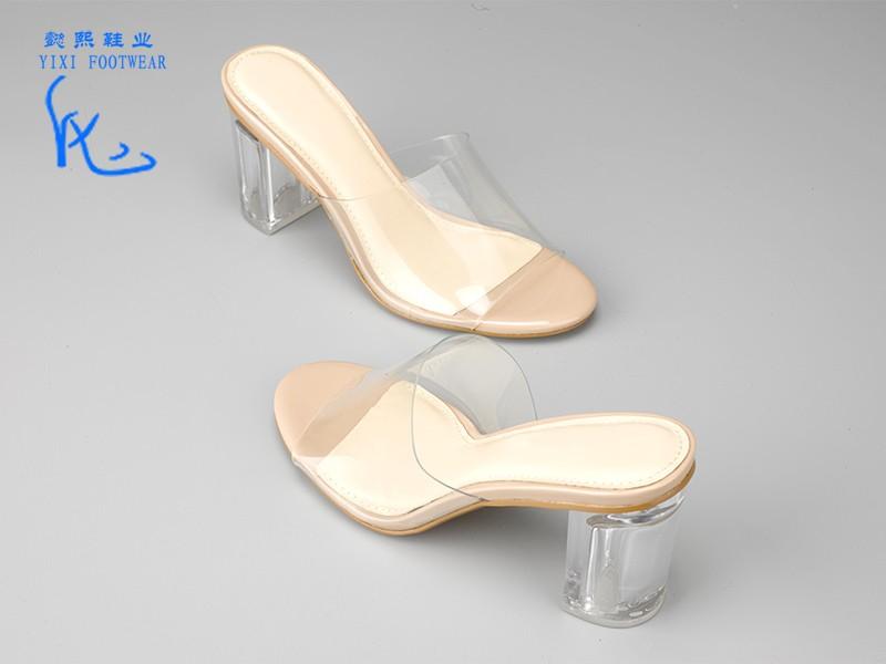 透明水晶女士拖鞋裸色