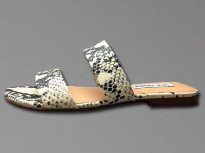 休闲拖鞋女蛇纹粗跟平底鞋