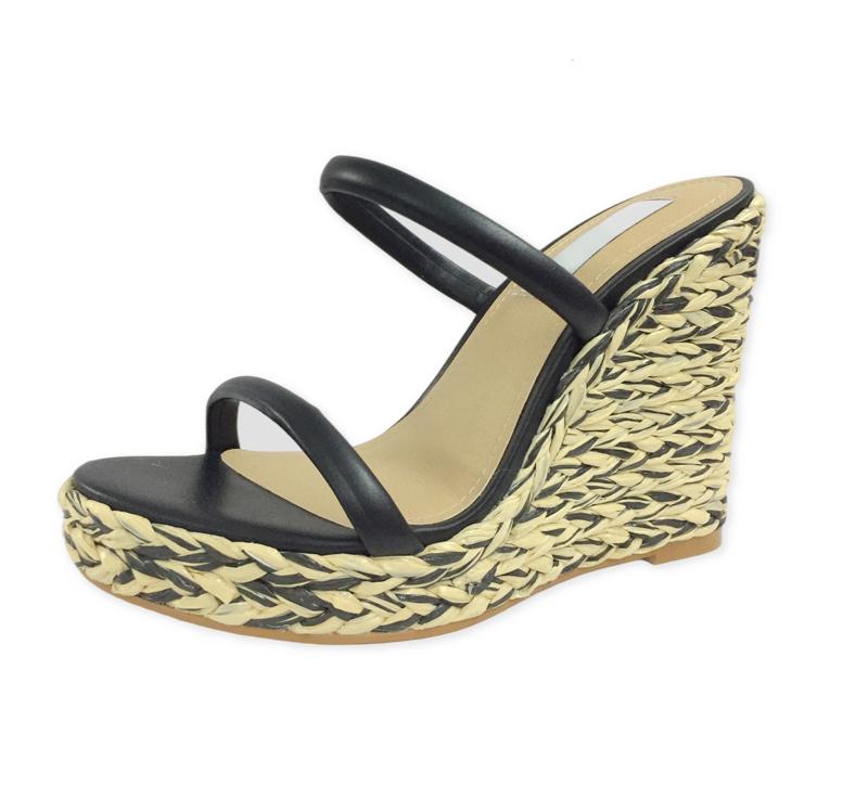 坡跟凉鞋防水台草编凉鞋批发