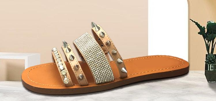 女鞋生产厂家-女士平底铆钉水钻拖鞋