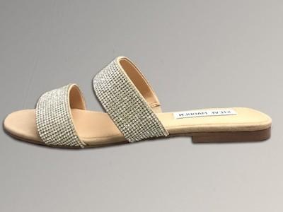 女鞋生产厂家-女士平底水钻拖鞋