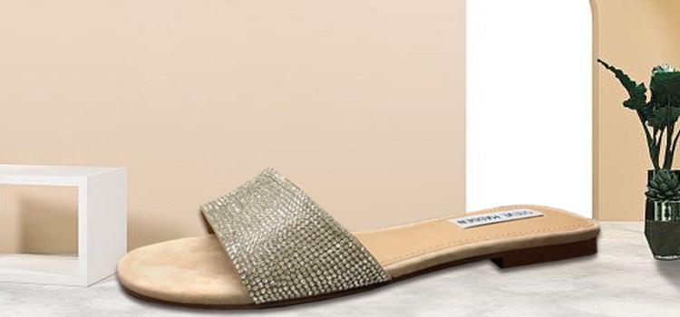 女鞋生产厂家-女士平底水钻一片式拖鞋