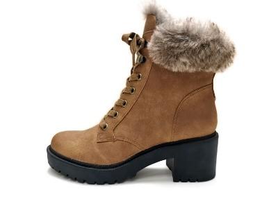 东莞懿熙鞋业女鞋生产厂家-系带保暖靴粗跟圆头马丁靴
