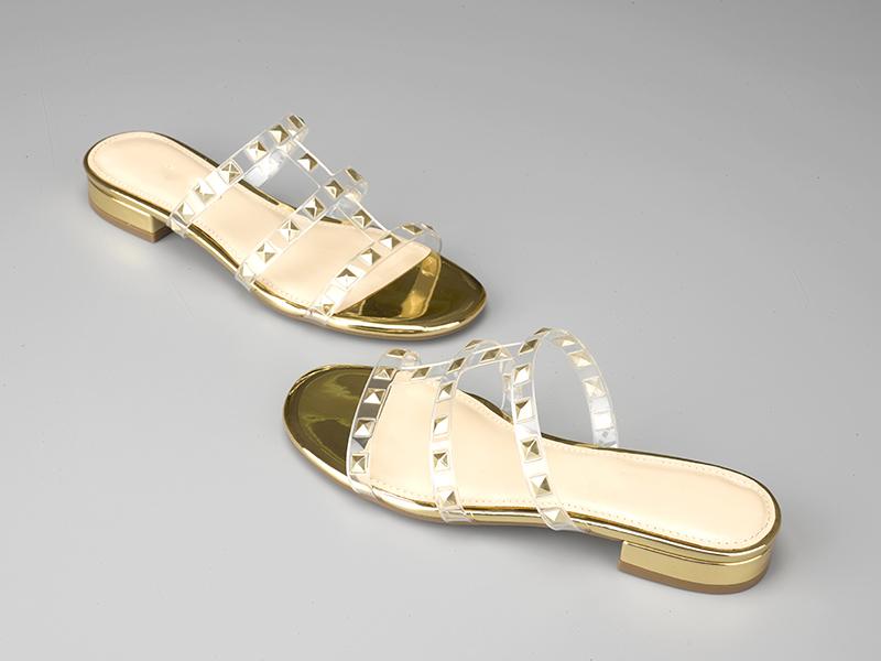东莞懿熙鞋业女鞋生产厂家-透明TPU模压方钻粗跟拖鞋-代工工厂