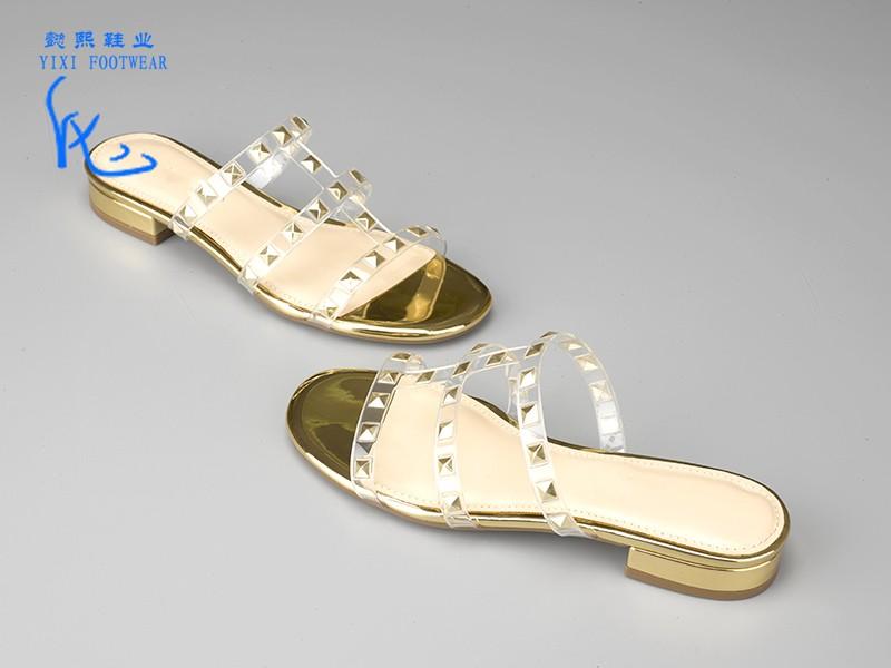 时尚女士粗跟拖鞋金色