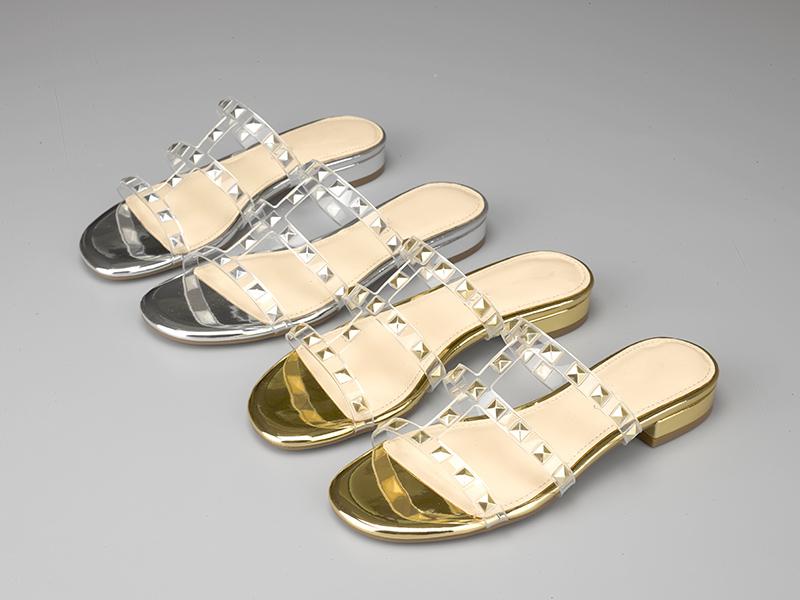 时尚女士粗跟拖鞋双色