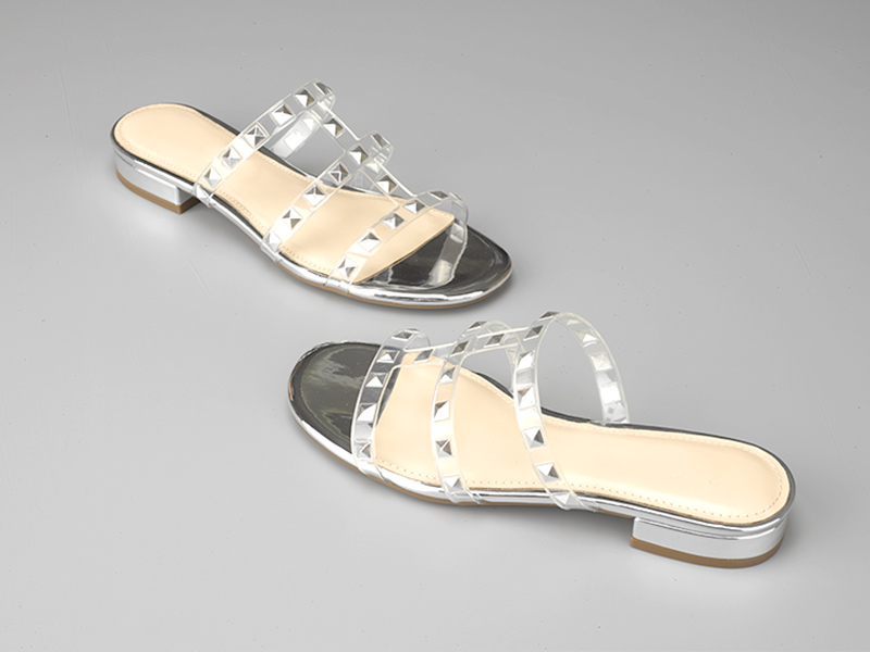 时尚女士粗跟拖鞋银色