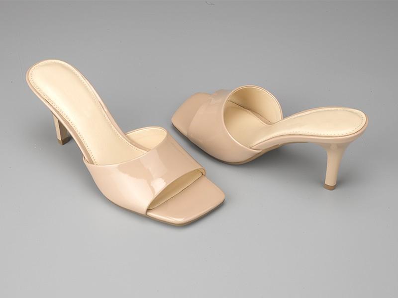 东莞懿熙鞋业女鞋生产厂家-女士方头高跟拖鞋-代工工厂