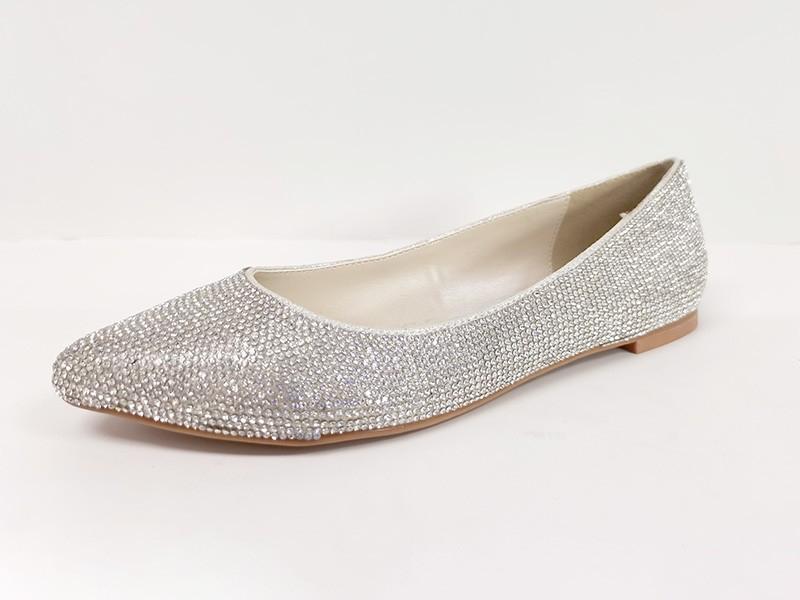 东莞懿熙鞋业女鞋生产厂家-尖头平底水晶镶钻单鞋-代工工厂