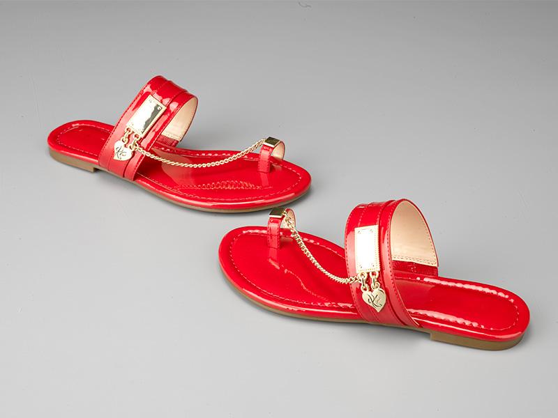 女士时尚平底凉鞋-红色
